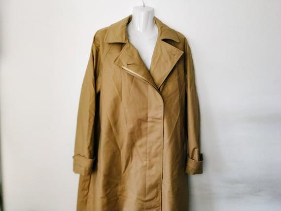 Vintage camel trench coat Large size, Brown cotton