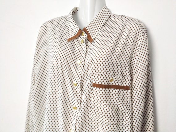 Early 1990s Nicola Vintage  Shiny BLACK and WHITE Blouse  Gingham Print Women/'s Top  Polyester Shirt with Bishop Sleeves  Shoulder Pads