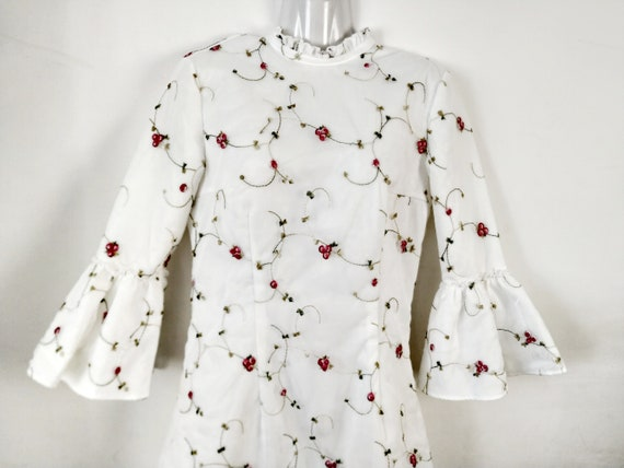 Vintage white embroidered tulle dress, Tiny floral