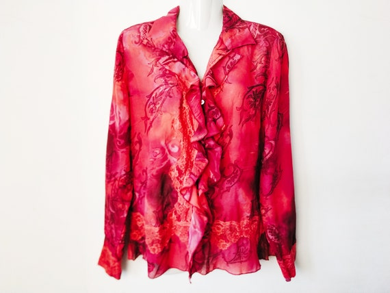 Vintage wine blouse with ruches M L size, Bohemian