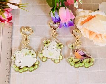 Clover Animal Keychain - Cat, Robin, Rabbit