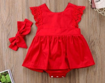f440ef772dec Summer Ruffle Red Lace Romper Dress for Newborn Baby Girls Kids 6-24M