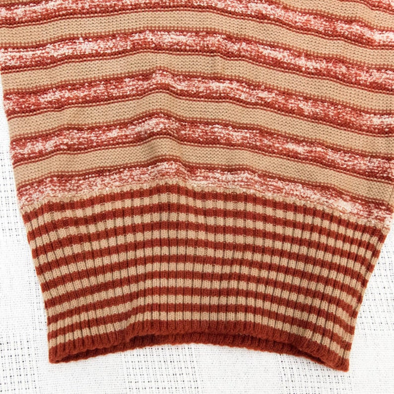1970s Vintage Fitted Stripe V-Neck Sweater FREE SHIP