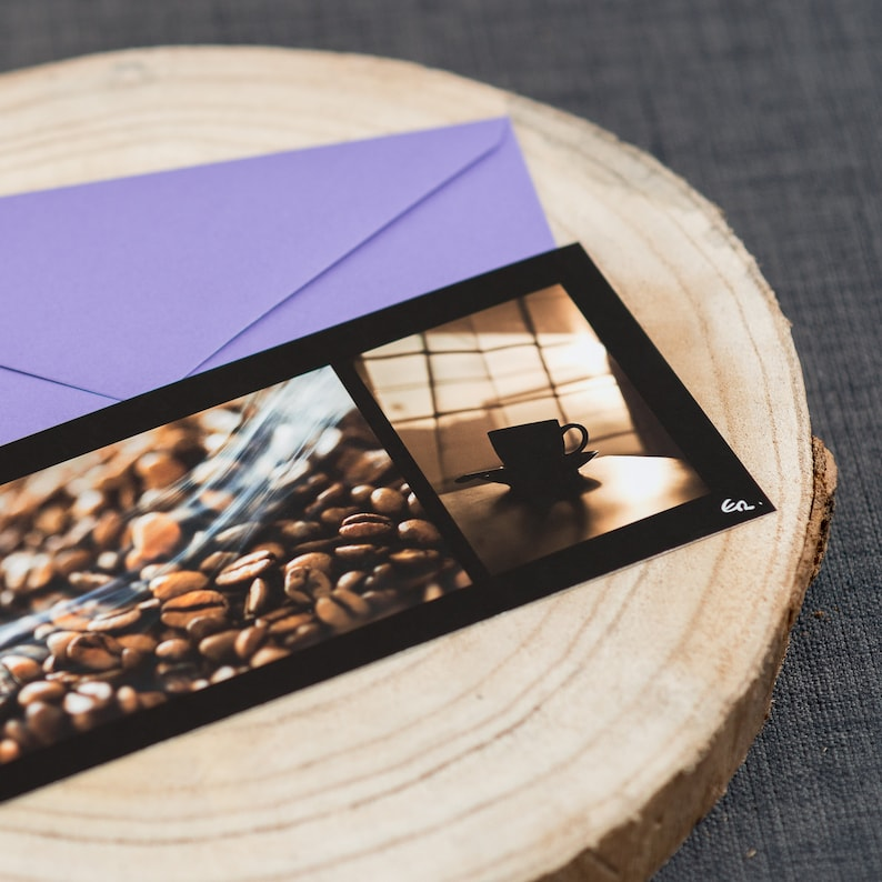coffee seeds and cup of coffee in front of a sunny window Postcard