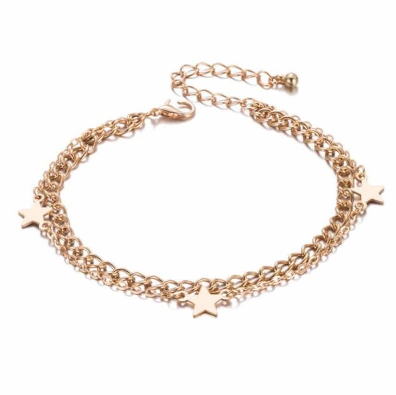 Star Jewelry Girl Christmas Gift Gold Stars Anklet Birthday Girl Gift Star Anklet Body Jewelry Gold Anklet Women/'s Anklet