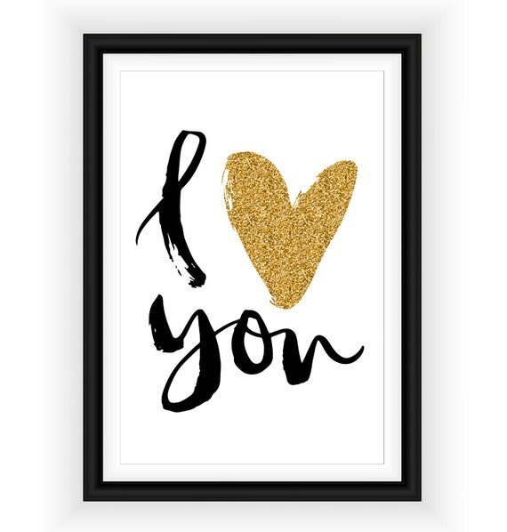 I Love You Hearts Valentines Love Gift Bedroom Wall Decor Art Poster Print