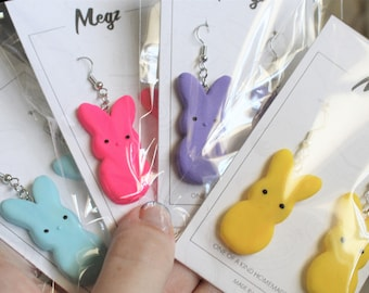 Yellow Easter Earrings Hypoallergenic Dangle Earrings Gifts for Her Marshmallow Bunny Peeps Polymer Clay Lightweight