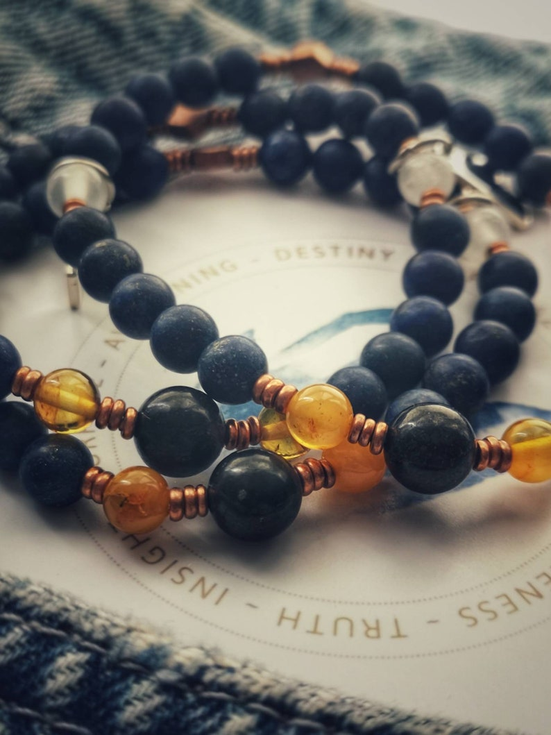 Russian Shungite The Regal Healer High Quality Crystal Bracelet  Activate Your Throat and 3rd Eye Chakra  Baltic Amber Selenite /& Lapis