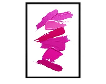 Lipstick Print Wall Print Makeup Print Smile Print Typography Print Wall Decor Home Decor Digital Print,Wall Art