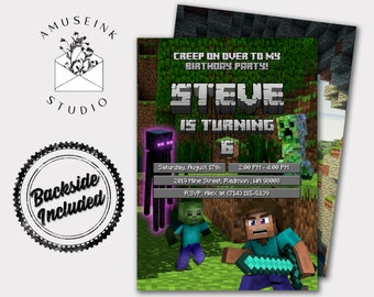 image about Printable Minecraft Invitations referred to as Minecraft invitations Etsy