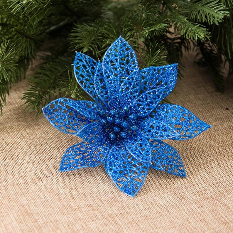 15pcslot 5.12in Artificial fake flowers hollow Christmas tree flowers head New Year party decor birthday gift wedding home decorations
