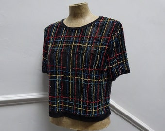 Vintage BEAD and SEQUIN TOP-Lovely Little Beaded Top.