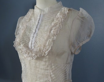 Vintage SHEER VOILE BLOUSE-Beautiful Voile Top.