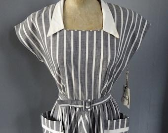 1950s DEADSTOCK COTTON DRESS-50s American Crisp Cotton Dress.