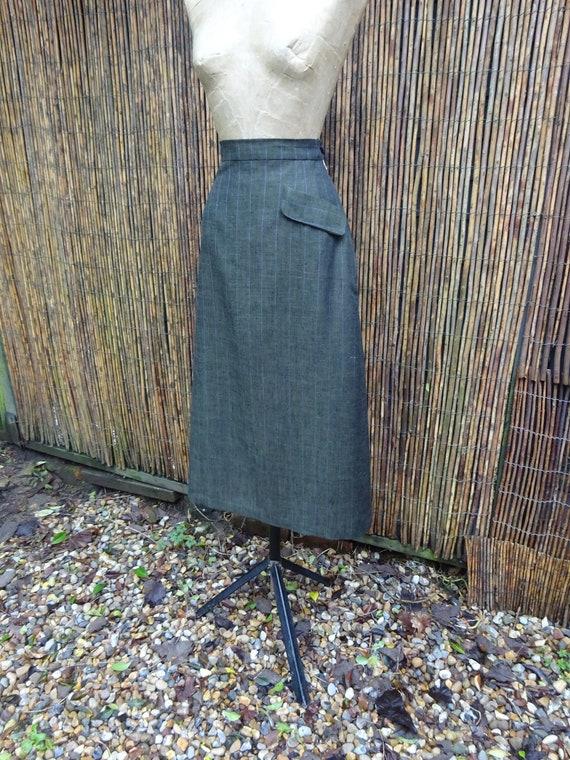1940s TAILORMADE LINEN SKIRT-Pure Linen Skirt-40s