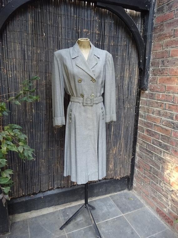 FABULOUS 1940s WORSTED COAT-40s Classic Grey Wool… - image 4