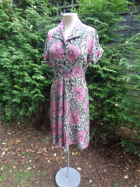 1940s CREPE DRESS-40s Crepe Day Dress-Wartime 1940