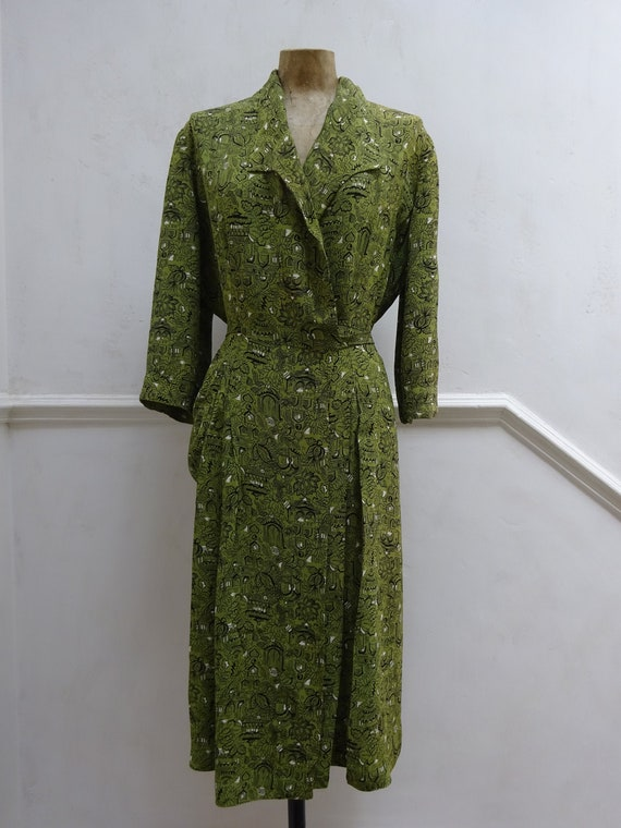 1940s NOVELTY CREPE DRESS-40s Green Wrap Dress-40s
