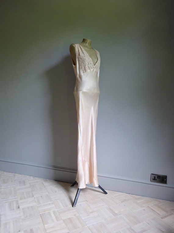 1930s SILK SATIN NIGHTDRESS-30s Silk Slip-1930s S… - image 4