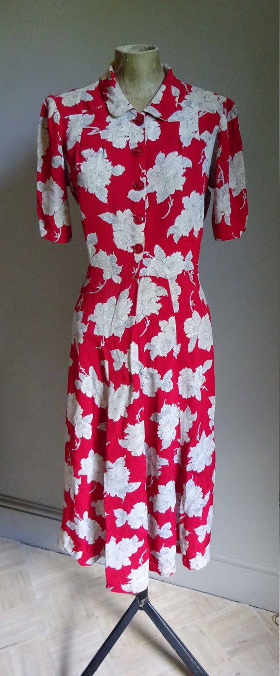 1940s CREPE DRESS-40s Floral Crepe Dress-40s Rayon