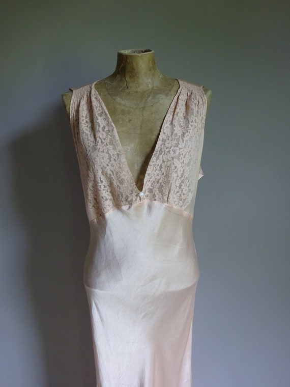 1930s SILK SATIN NIGHTDRESS-30s Silk Slip-1930s S… - image 6