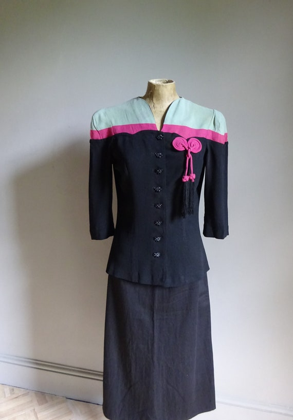 SUPERB 1930s-1940s CREPE JACKET-30s/40s Colour Blo