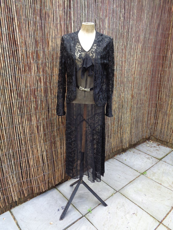 1930's Vintage LACE & CHIFFON DRESS-With Jacket,Sl