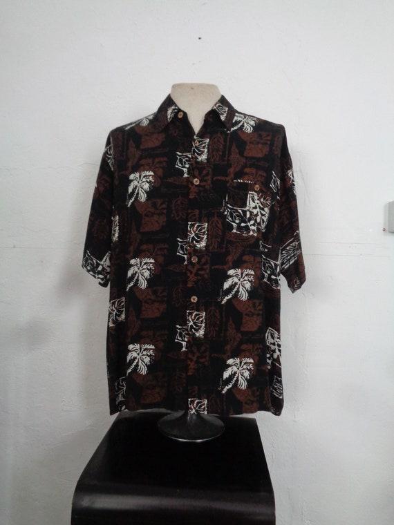 1950s HAWAIIAN SHIRT-Mens 50s Hawaiian Shirt-1950'