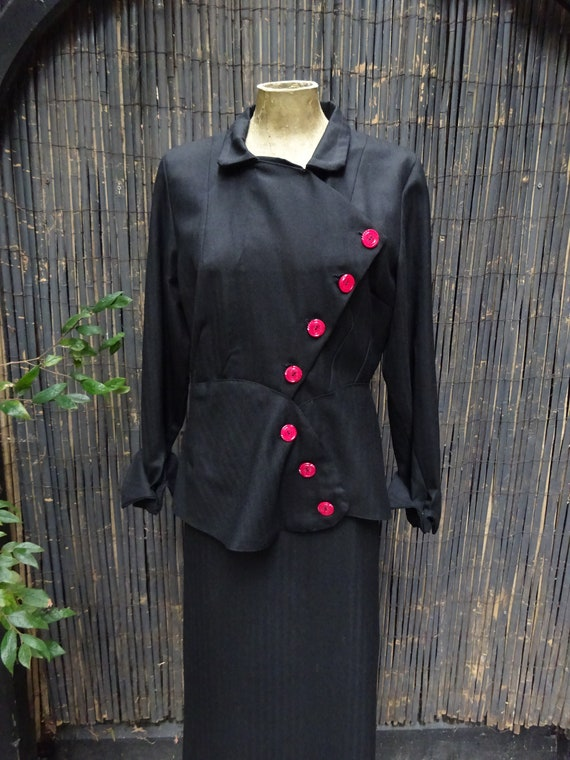 1940s ASYMETRIC WORSTED SUIT-40s 2 Piece Pure Wool