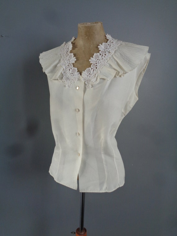 1950s LACE DETAIL BLOUSE-50s Blouse-1950's Ruched
