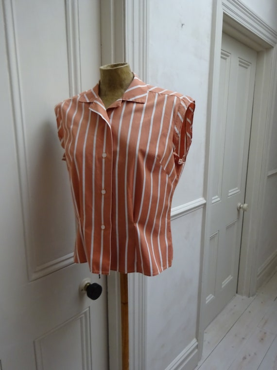 1950s CANDY STRIPE BLOUSE-St Michaels 50s Cap Slee