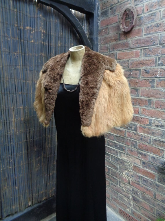 1940s FUR CAPE-40s Lambswool and Coney cape-Vintag