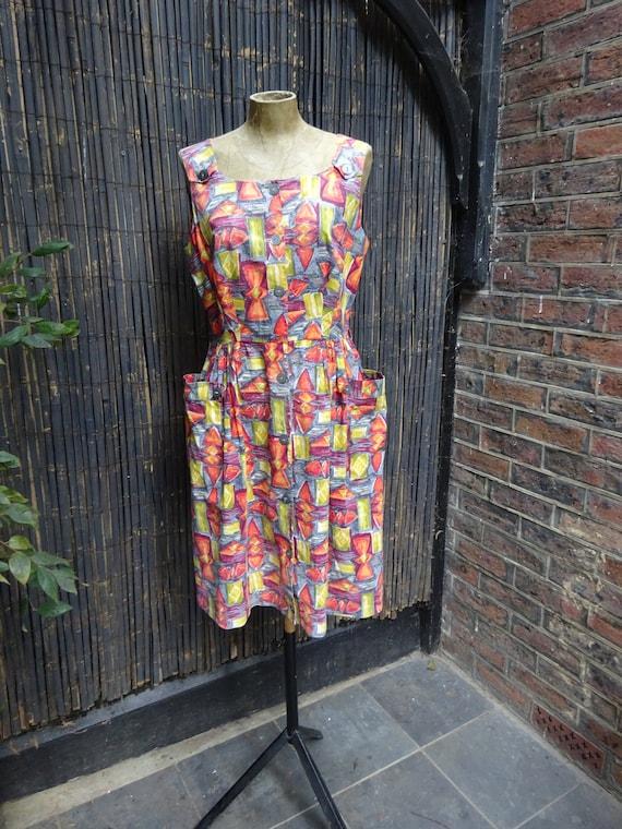 1950s ABSTRACT COTTON DRESS-50s Classic Sun Dress-
