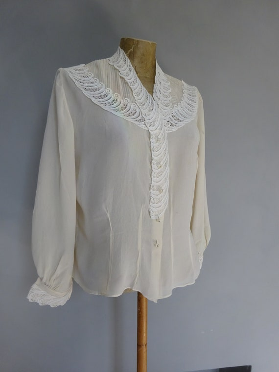 1940s SILK and LACE BLOUSE-40s Lace Panelled Blous