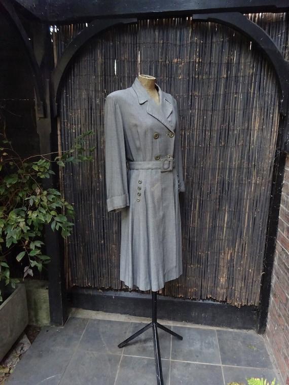 FABULOUS 1940s WORSTED COAT-40s Classic Grey Wool… - image 2