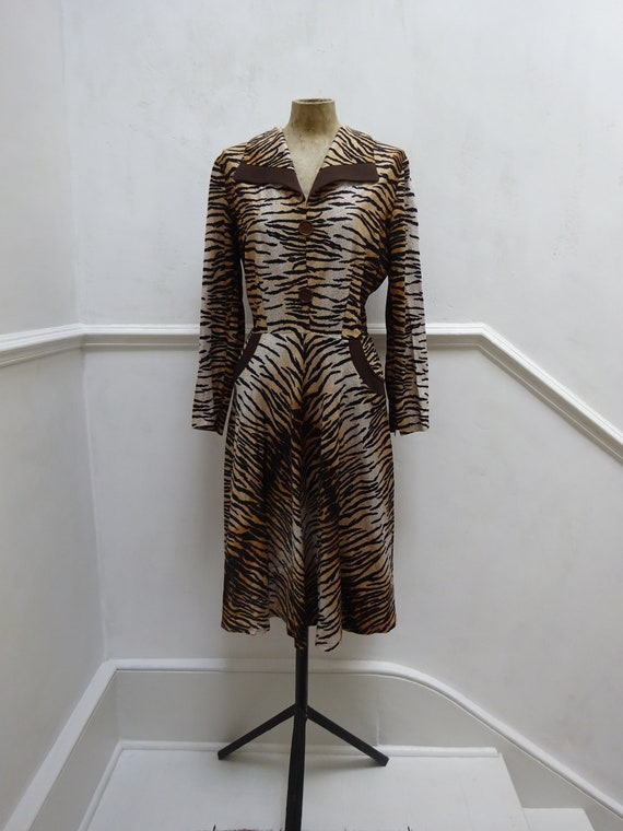 1940s Vintage Tiger Print Rayon Jersey Dress-Stunn