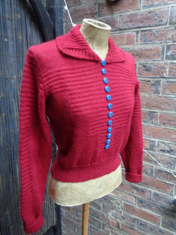 1940s VINTAGE SWEATER-40s Handknitted Sweater-1940