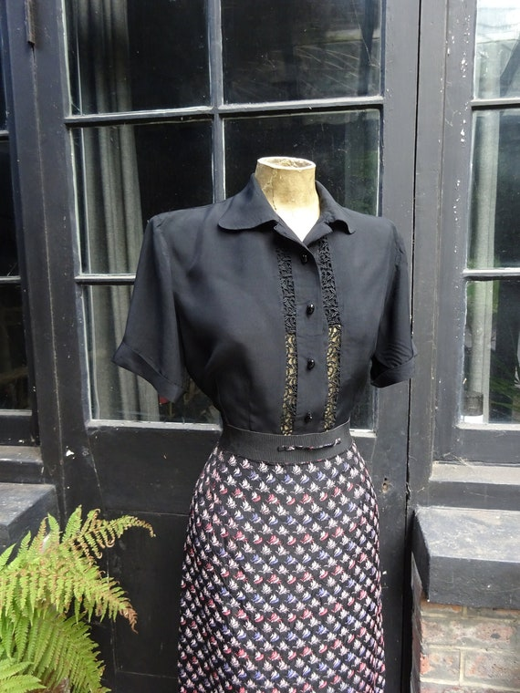 1940s BLACK SILK BLOUSE-40s Silk and Lace Blouse-4