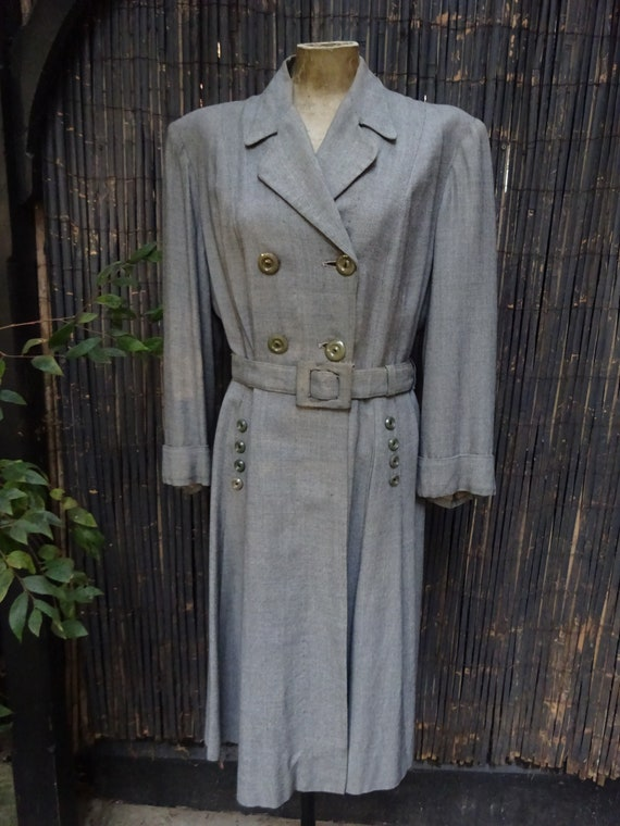 FABULOUS 1940s WORSTED COAT-40s Classic Grey Wool