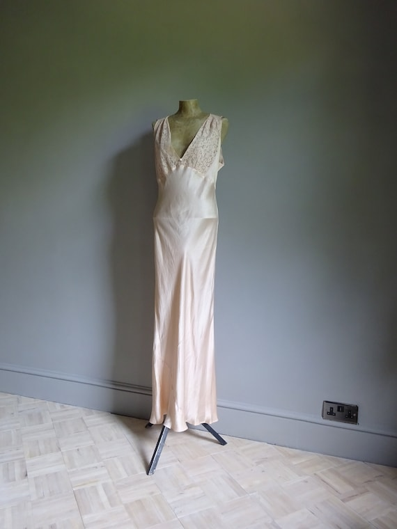 1930s SILK SATIN NIGHTDRESS-30s Silk Slip-1930s S… - image 3