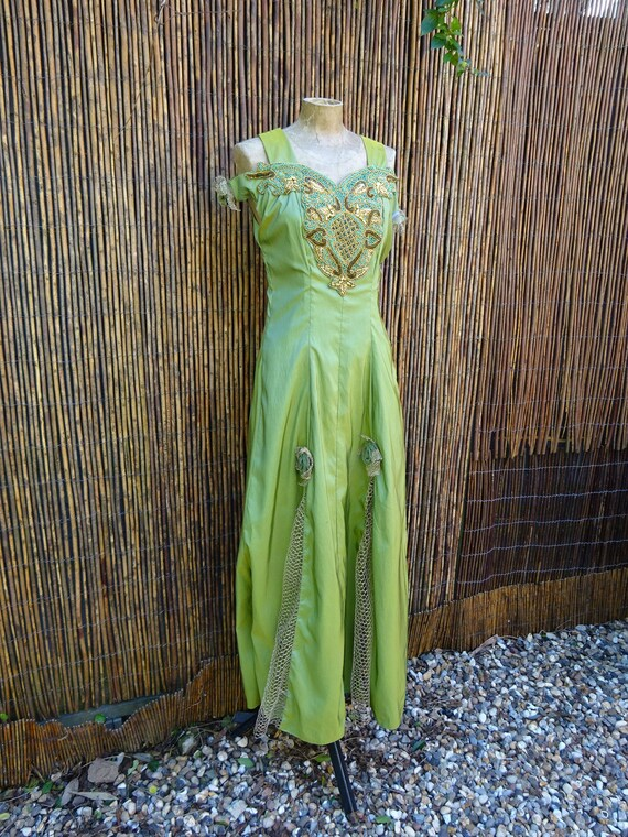 1950s UNIQUE EVENING GOWN-50s Prom Dress-1950s Sil