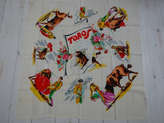 VINTAGE SOUVENIR SCARF-Large Bullfighting Souvenir