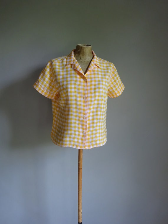 1950s BRIGHT SPORT BLOUSE-50s Check Blouse-50s Yel