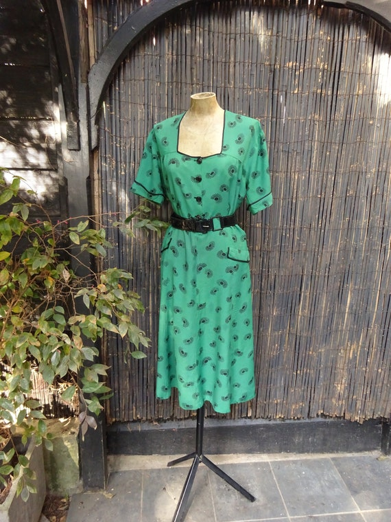 1940s RAYON DAY DRESS-40s Kelly Green Dress-1940s
