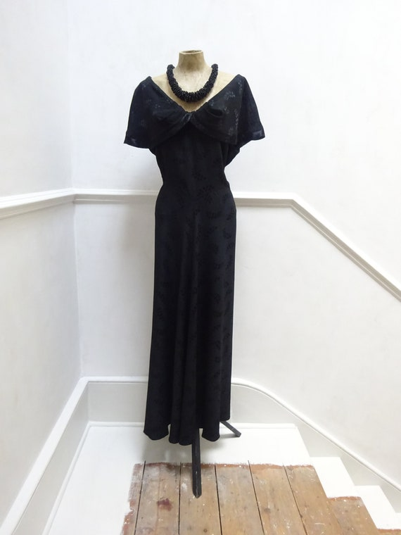 1940s HEAVY CREPE DRESS-40s Crepe Evening Dress-Ha
