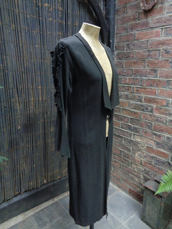 1930s FINE CREPE COAT-30s Black Crepe Coat-Edge to