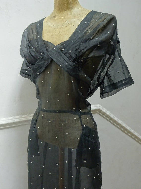 1930s ITALIAN SHEER DRESS-30s Voile Dress-1930s De