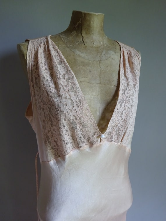 1930s SILK SATIN NIGHTDRESS-30s Silk Slip-1930s S… - image 2