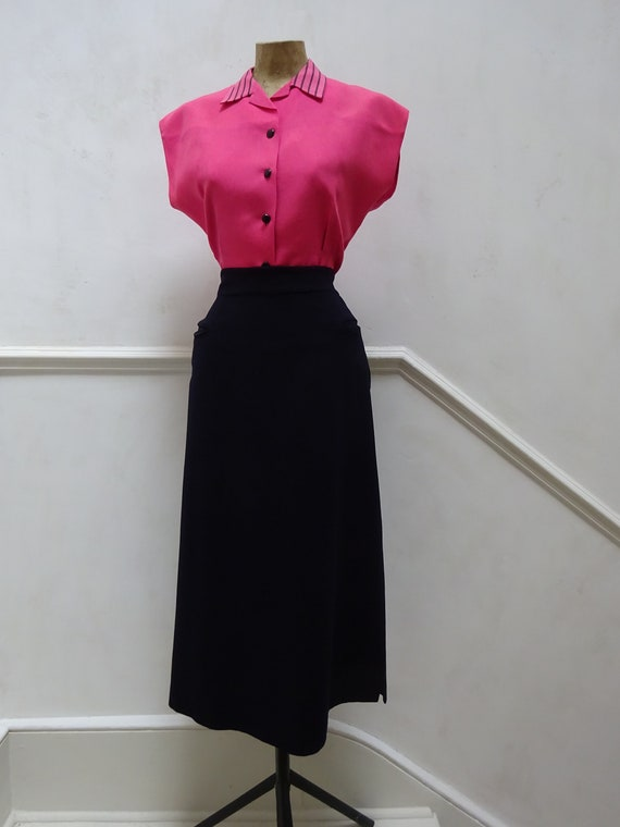 1950s SHOCKING PINK BLOUSE-50s Linen Tailored Blou