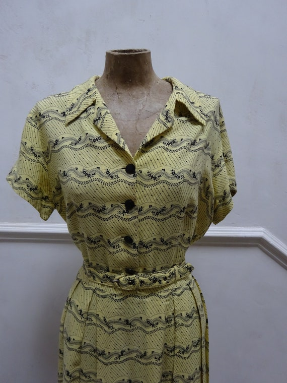 1940s St.MICHAELS DAY DRESS-40s Cotton Floral patt